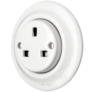 PORCELAIN WALL SOCKET WHITE UK - PORCELAIN WALL SOCKETS - DYKE & DEAN  - Homewares | Lighting | Modern Home Furnishings