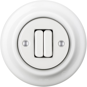 PORCELAIN WALL SWITCH WHITE DOUBLE
