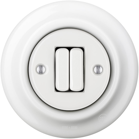 PORCELAIN WALL LIGHT SWITCH WHITE DOUBLE