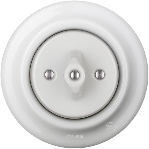 PORCELAIN WALL LIGHT SWITCH WHITE ROTARY