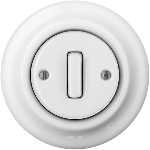 PORCELAIN WALL LIGHT SWITCH WHITE SLIM BUTTON