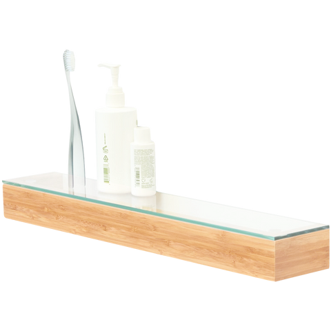 SLIMLINE SHELF WITH GLASS TOP IN BAMBOO