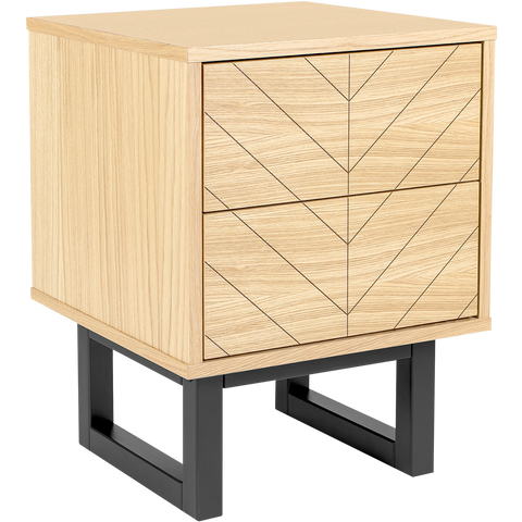 HERRINGBONE BEDSIDE DRAWS OAK