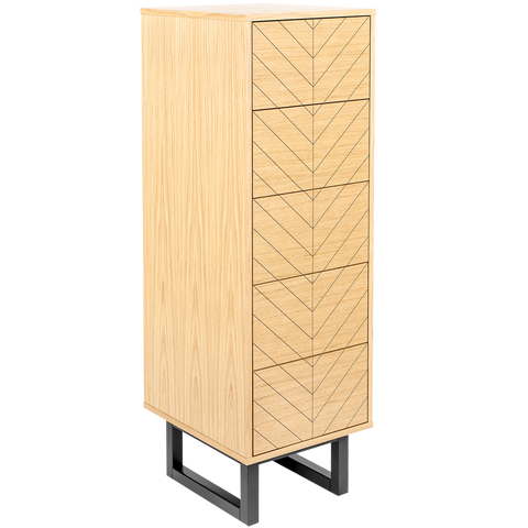 HERRINGBONE NARROW HIGHBOARD CABINET OAK
