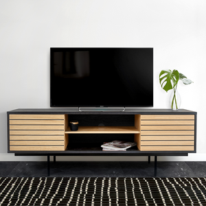 STRIPE BLACK TV SIDEBOARD OAK