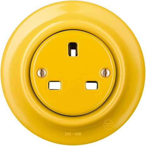 PORCELAIN WALL SOCKET YELLOW UK