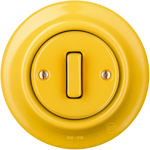 PORCELAIN WALL LIGHT SWITCH YELLOW SLIM BUTTON