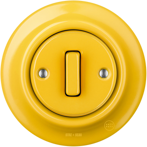 PORCELAIN WALL SWITCH YELLOW SLIM BUTTON