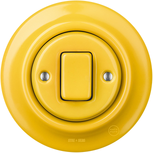 PORCELAIN WALL SWITCH YELLOW FAT BUTTON