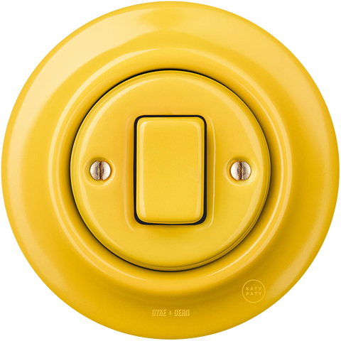 PORCELAIN WALL LIGHT SWITCH YELLOW FAT BUTTON