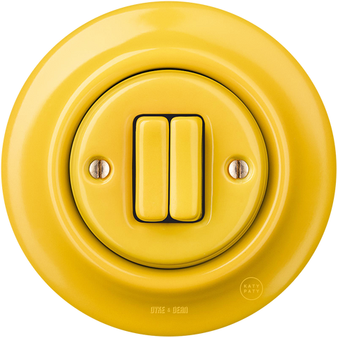 PORCELAIN WALL LIGHT SWITCH YELLOW DOUBLE