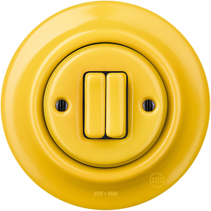 PORCELAIN WALL SWITCH YELLOW DOUBLE