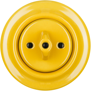 PORCELAIN WALL SWITCH YELLOW ROTARY - DYKE & DEAN