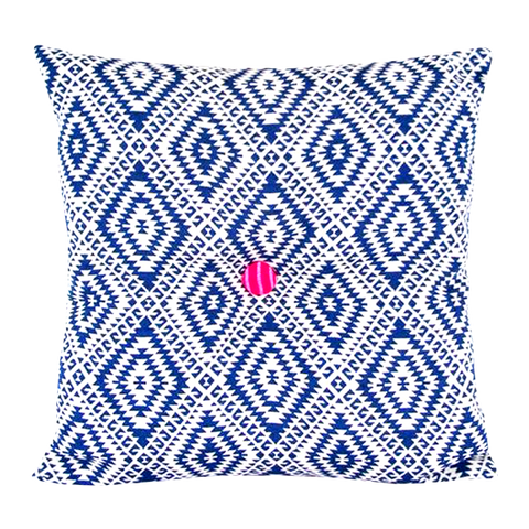 HANDMADE SQUARE CUSHION IN NAVY & VANILLA