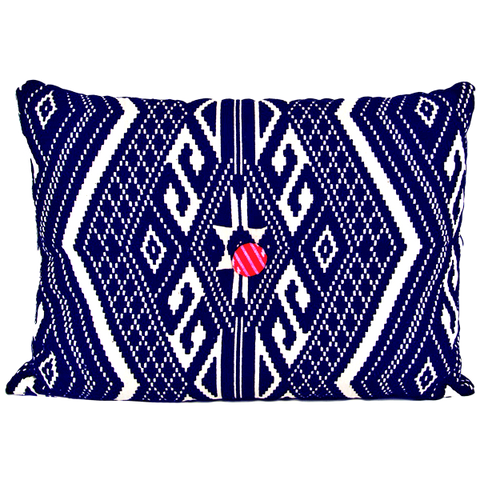 INDIAN JACQUARD CUSHION IN NAVY & VANILLA