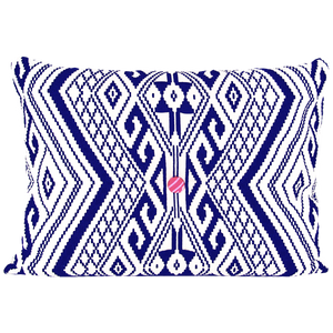 INDIAN JACQUARD CUSHION IN VANILLA & NAVY