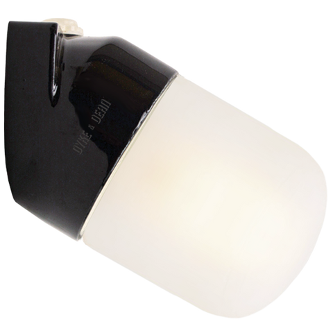 BLACK CERAMIC ANGLE WALL LIGHT FROSTED E27 - BATHROOM / OUTDOOR LIGHTS - DYKE & DEAN  - Homewares | Lighting | Modern Home Furnishings