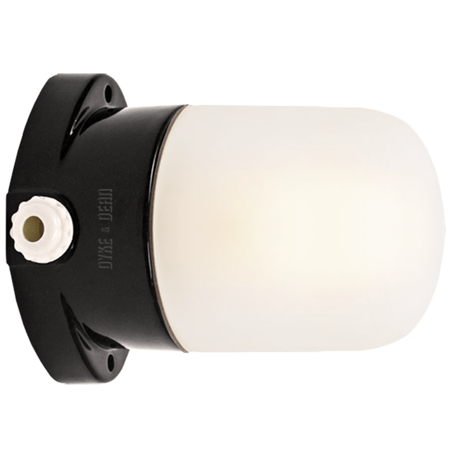 BLACK CERAMIC MOUNTED WALL LIGHT FROSTED E27
