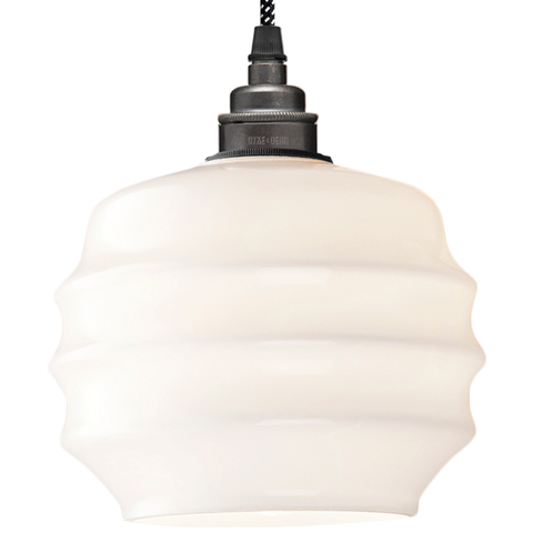 RIPPLE OPALINE PENDANT SHADE SMALL - GLASS PENDANTS - DYKE & DEAN  - Homewares | Lighting | Modern Home Furnishings