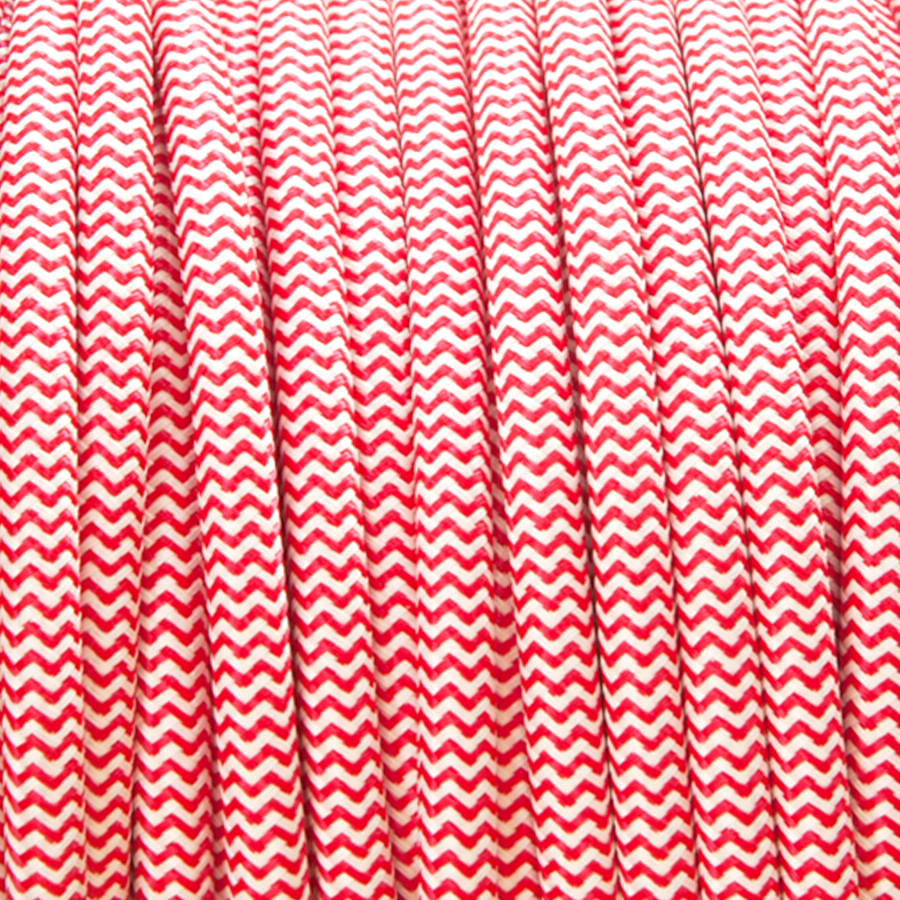 RED & WHITE ZIG ZAG FABRIC CABLE - FABRIC CABLE - DYKE & DEAN  - Homewares | Lighting | Modern Home Furnishings