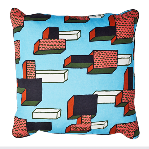 "WH CUSHION ""IN THE GRASS"" BLUE SQUARE"