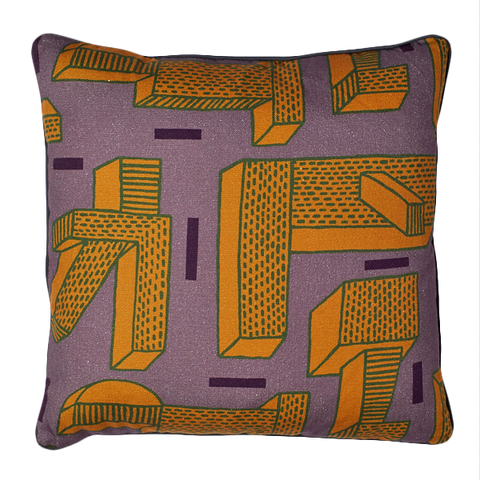 "WH CUSHION ""IN THE GRASS"" GOLD/BROWN SQUARE"