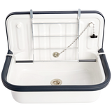 ENAMEL BUCKET SINK BLUE RIM