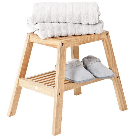 SLATTED BATH STOOL NATURAL OAK