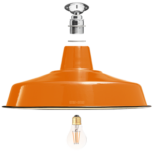 FIXED LARGE ORANGE ENAMEL SHADE