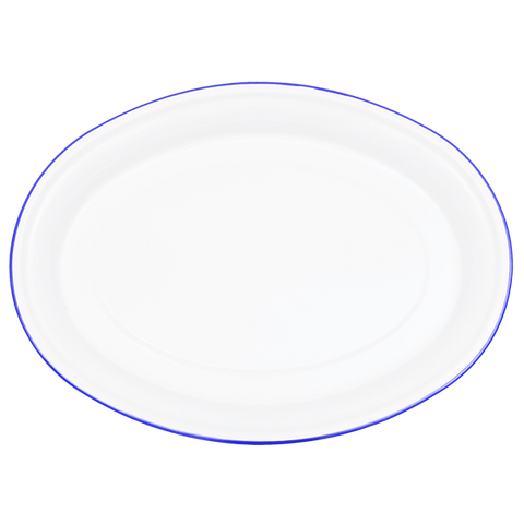 OVAL PLATTER WHITE WITH BLUE RIM