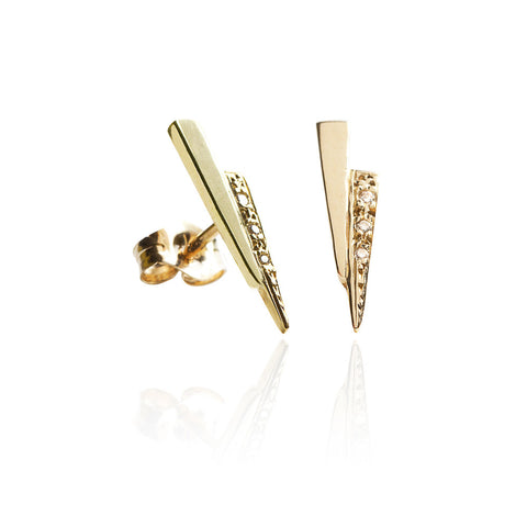 Gold razor studs with white diamonds