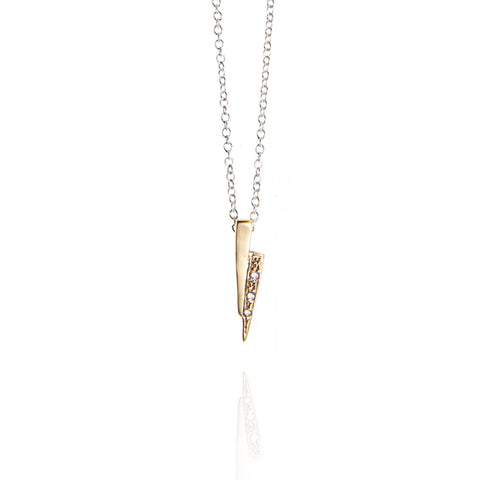 Gold on silver razor necklace with white diamonds