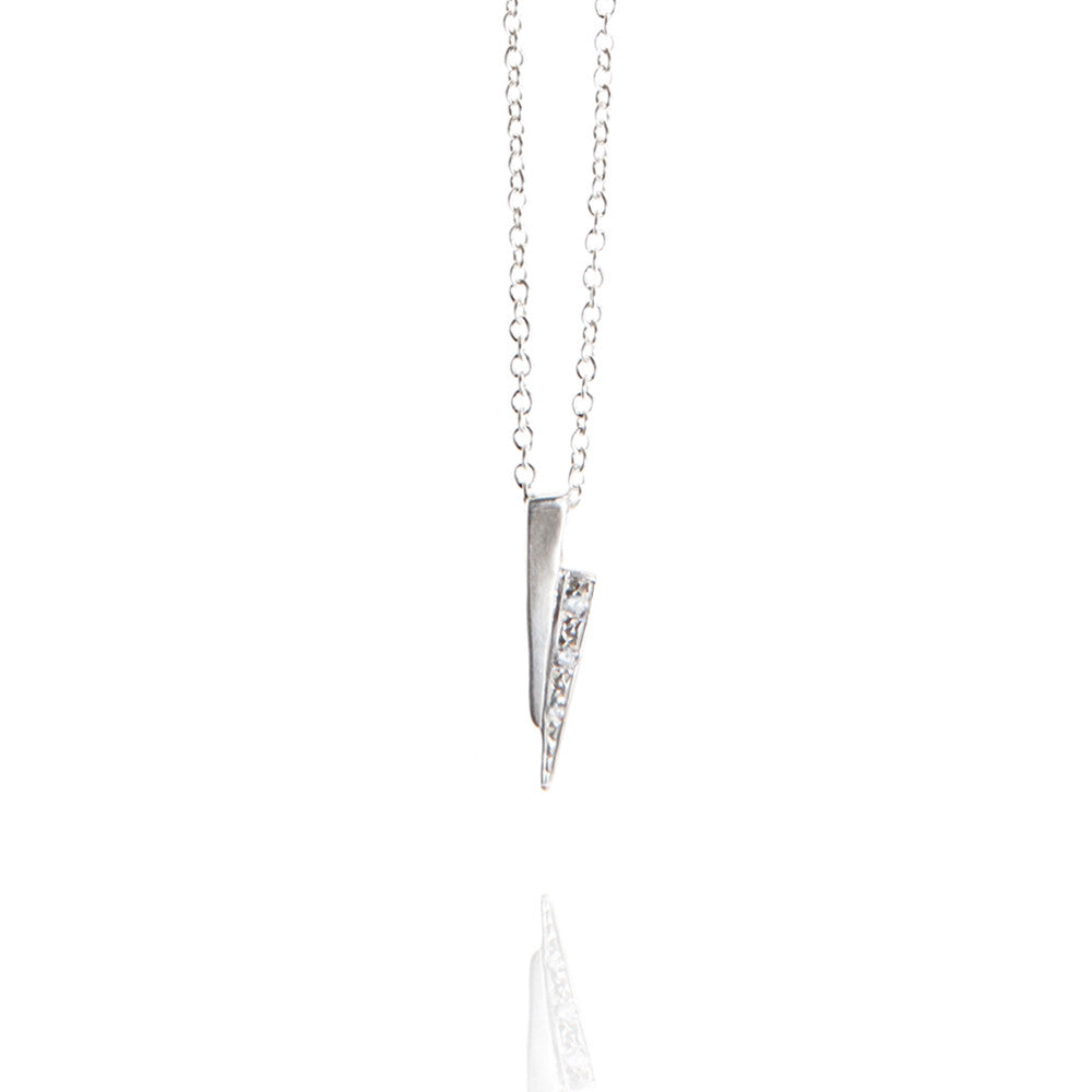 Sterling silver razor necklace with white diamonds