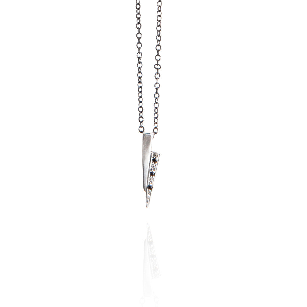 Sterling silver razor necklace with black diamonds