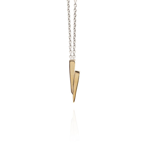 Gold on silver razor necklace