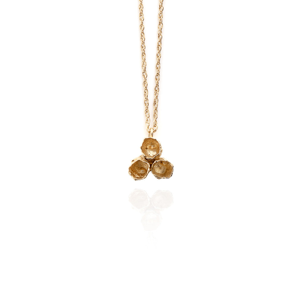 Gold cluster barnacle necklace