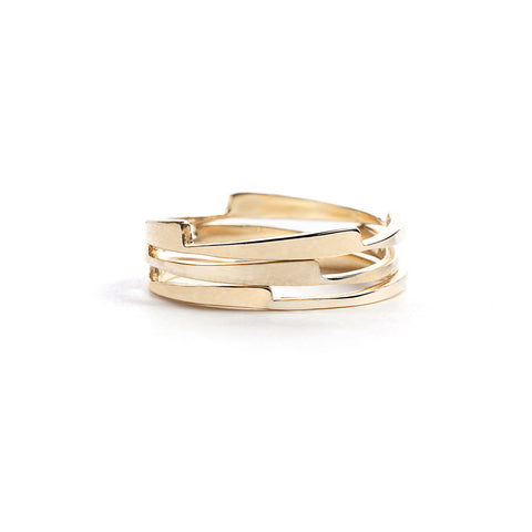 Gold razor stack rings