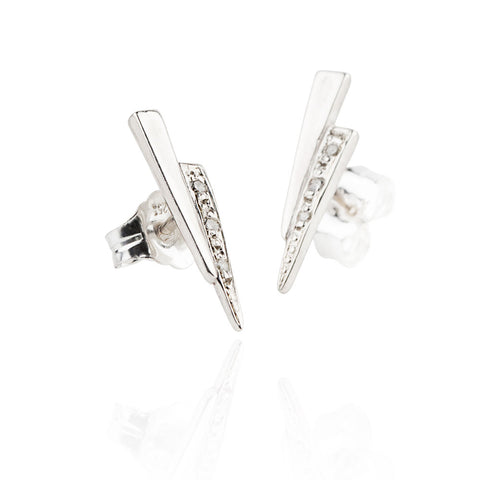 Razor studs with white diamonds