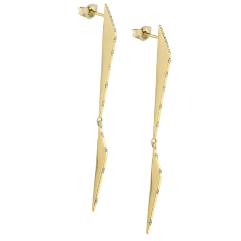 Gold Double Scalene Earrings