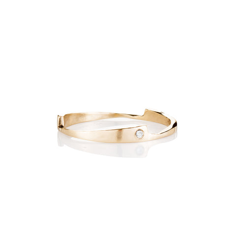 Gold razor stack ring with white diamonds