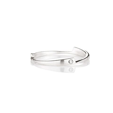 Sterling silver razor stack ring with white diamonds