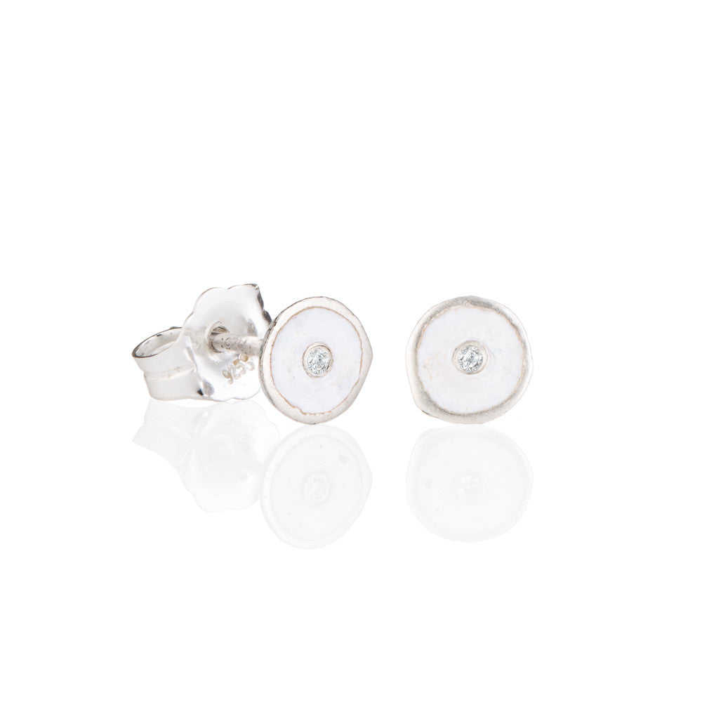 White droplet studs with diamonds