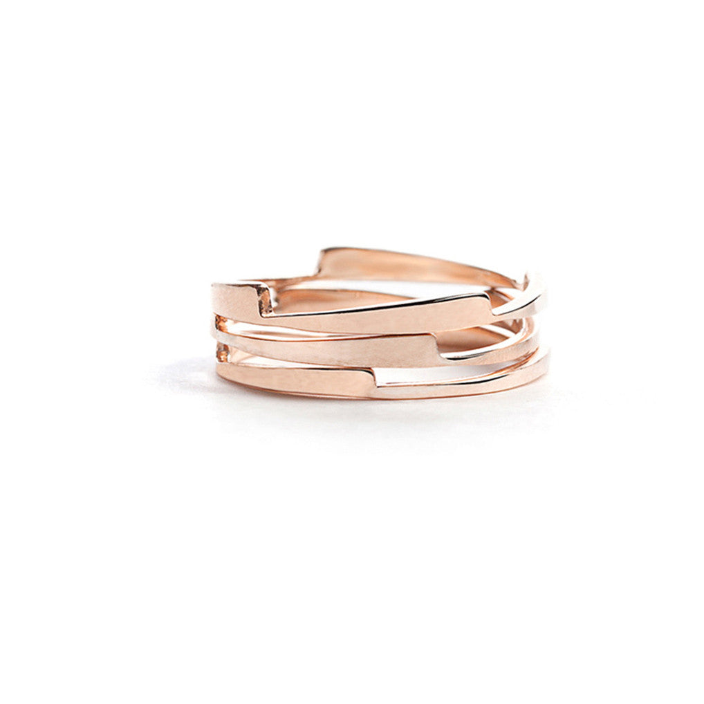 Rose gold razor stack rings