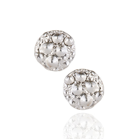 Sterling silver circle urchin studs
