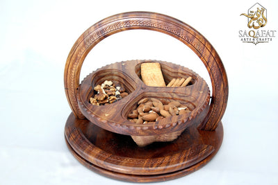 Collapsible Dry Fruit Basket With Brass Inlayed