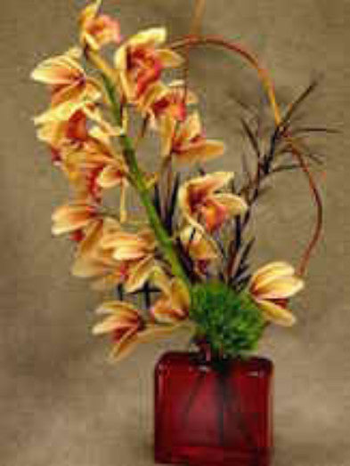 Exotic Orchids in a Keepsake Vase