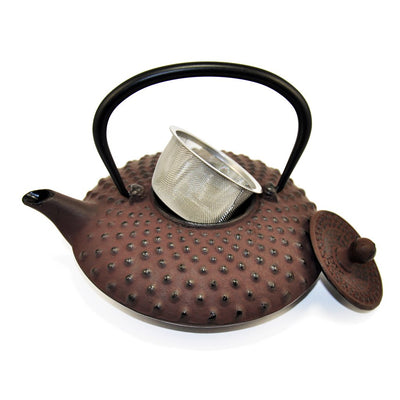 cast iron teapot with basket