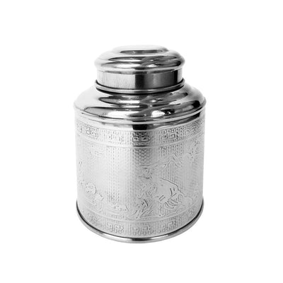 Tea storage canister, stainless steel