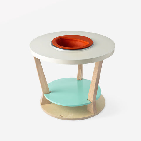Bobbin with orange seat and aqua shelf