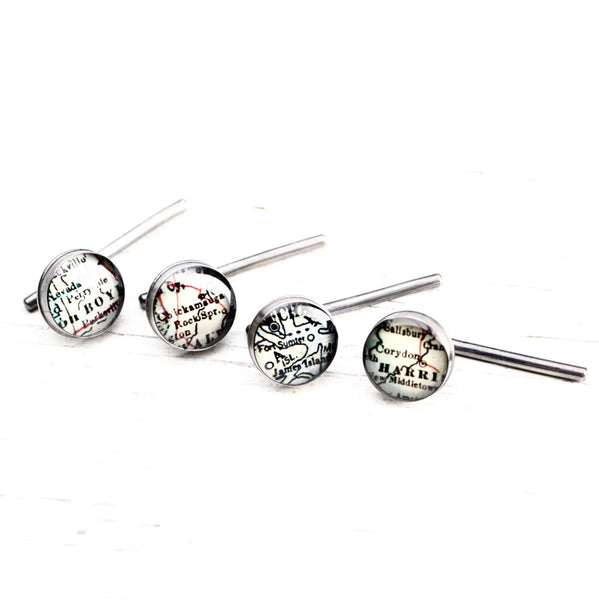 Antique Map Tuxedo Studs - CUSTOM